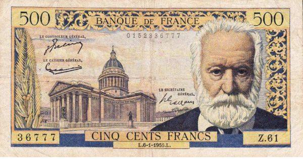Billet de cinq cents francs à l'effigie de Victor Hugo